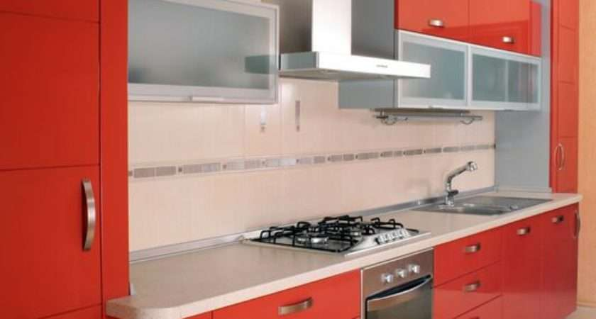 Kitchens Modern Red Kitchen Cabinets