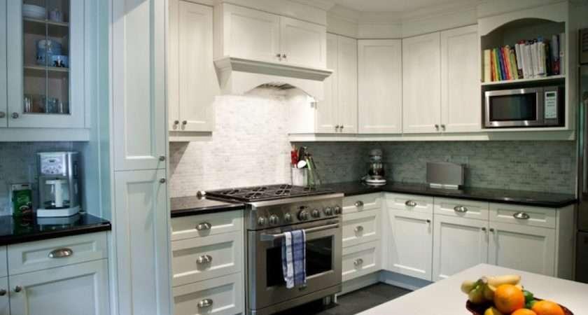 Kitchens Small Mosaic Tiles Backsplash White Shaker Kitchen Cabinets
