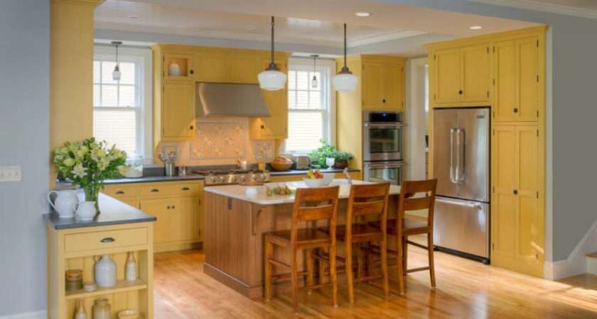 Kitchens Traditional Yellow Kitchen Cabinets
