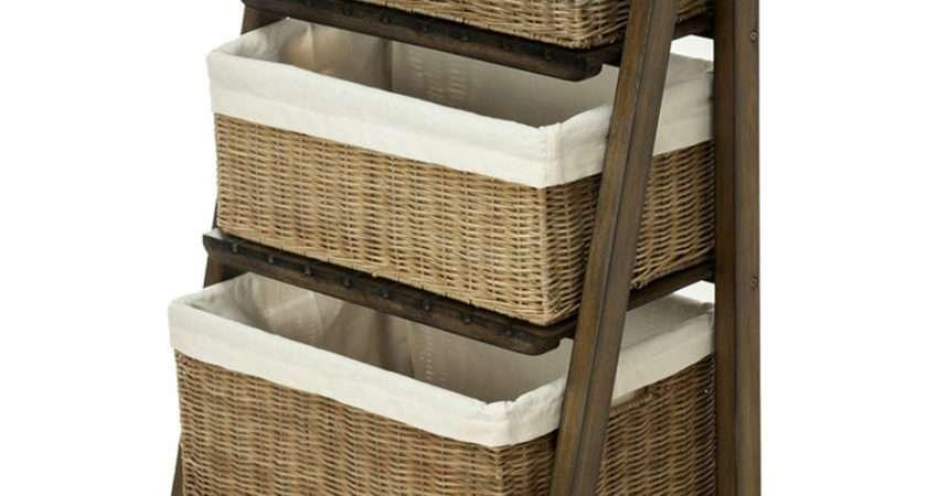 Kouboo Ladder Shelf Three Wicker Baskets Removable