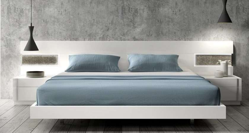 Lacquered Graceful Wood Luxury Platform Bed Long