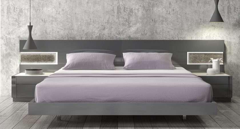 Lacquered Stylish Wood Elite Platform Bed Long Panels