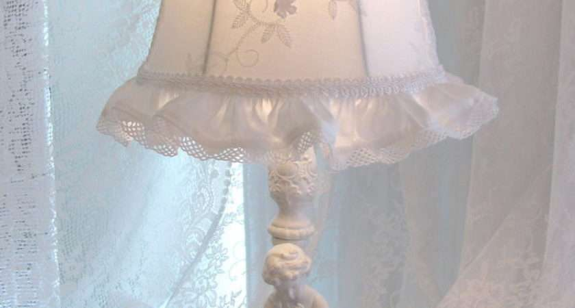 Lamp Shade Antique White Embroiderd Fabric Shabby