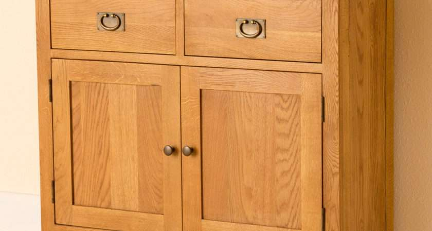 Lanner Oak Small Sideboard Two Drawer Cupboard