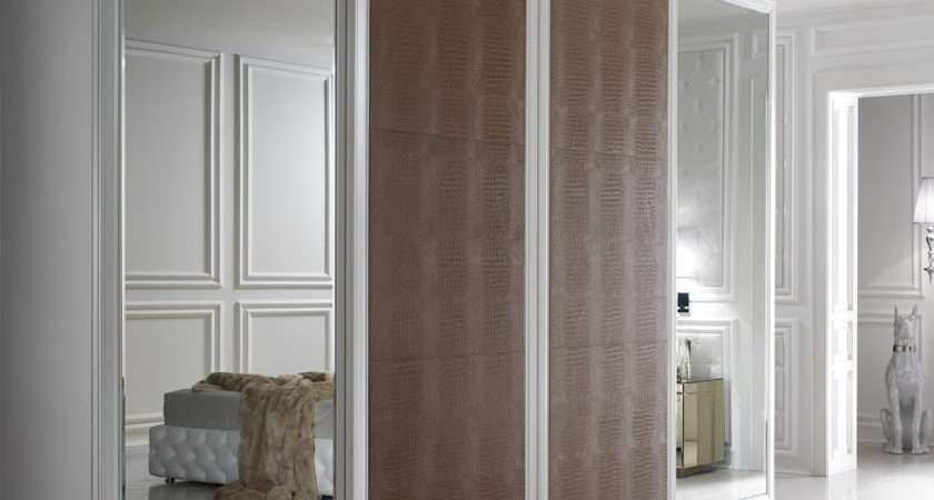 Large Alligator Embossed Leather Sliding Door Fitted