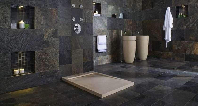 Large Bathroom May Covered Floor Ceiling Dark Stone Tiles