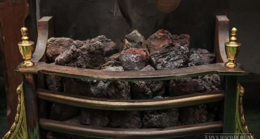 Large Georgian Style Gas Fire Basket Artificial Coal