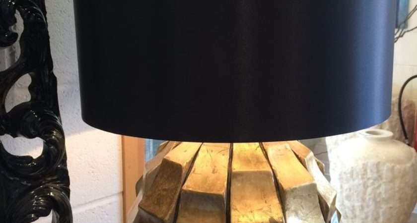 Large Gold Lamp Chunky Base Modern Table Black Shade