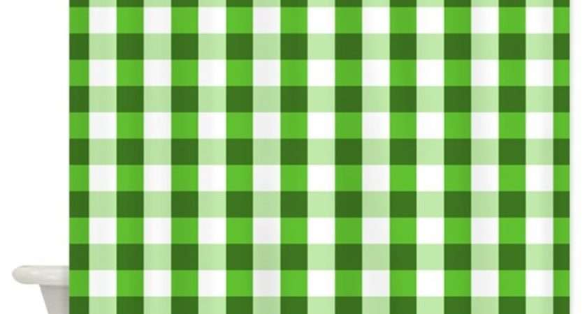 Large Green Gingham Shower Curtain Jqdesigns