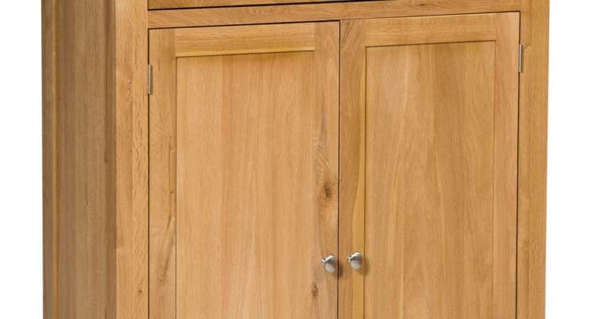 Large Oak Shoe Storage Cabinet Wooden Hallway Cupboard
