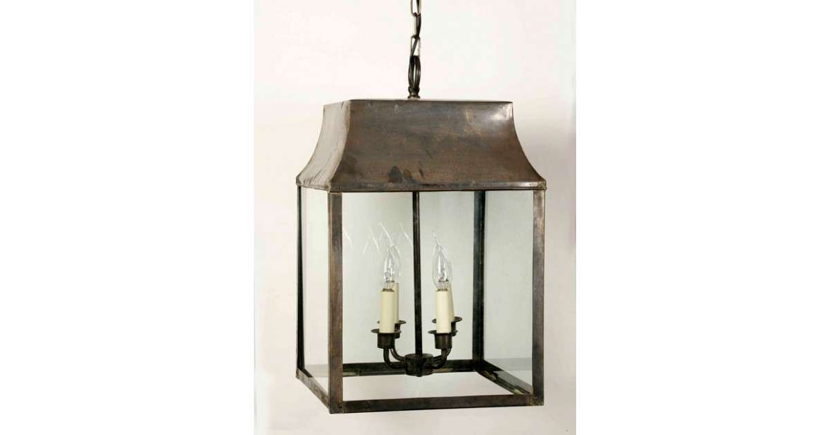 Large Strathmore Hanging Outdoor Porch Lantern Solid Brass
