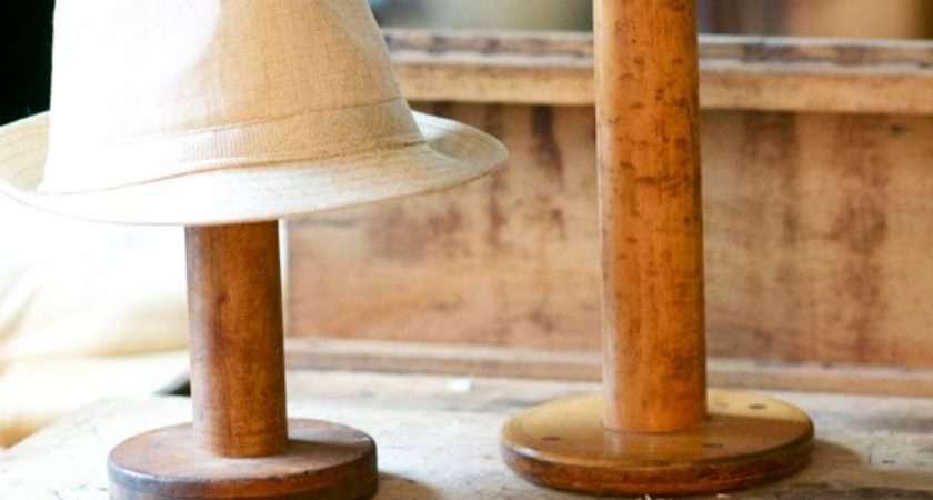 Large Vintage Wooden Spools Hat Stands