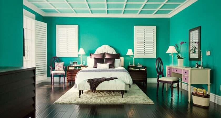 Latest Bedroom Interiors Dark Teal Wall Color