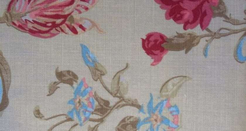 Laura Ashley Fabric Yardage Floral Linen Cotton Shabby Cottage