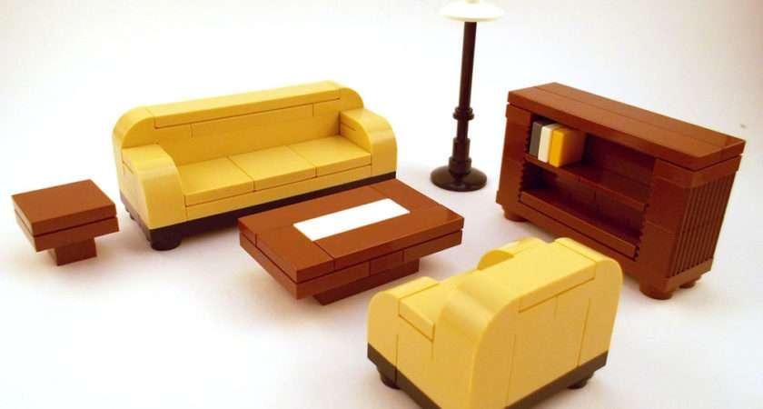 Lego Furniture Formal Seating Tan Couch Bookshelf