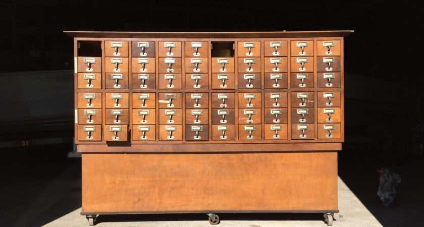 Library Card Catalog Cabinet Vintagetide Etsy