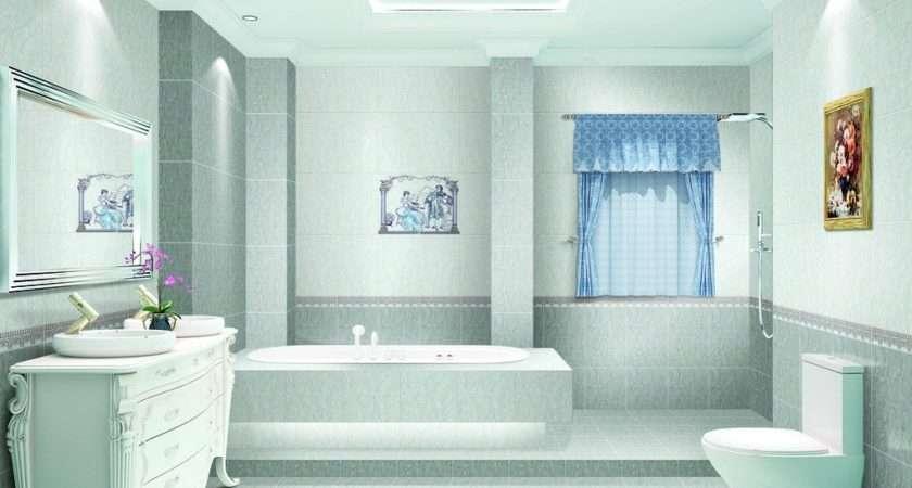 Light Blue Bathroom Interior Design Rendering Ceramic