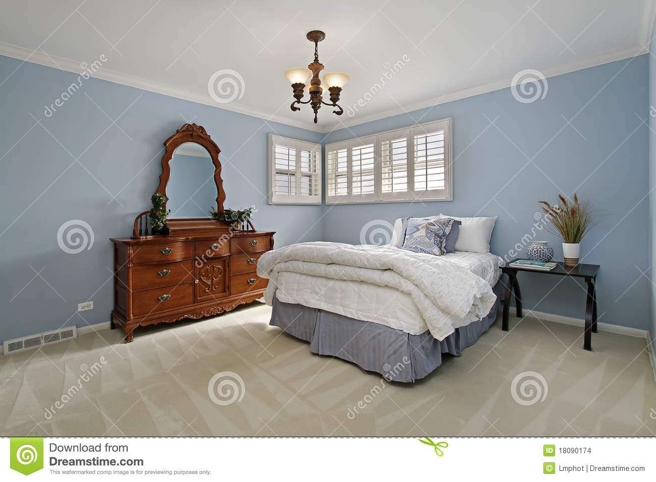 Light Blue Bedroom Closets Empty Small Room Walls Brown Carpet Floor