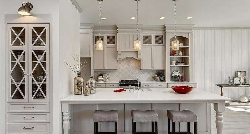 Light Gray Kitchen Cabinets Arabesque Tile Backsplash