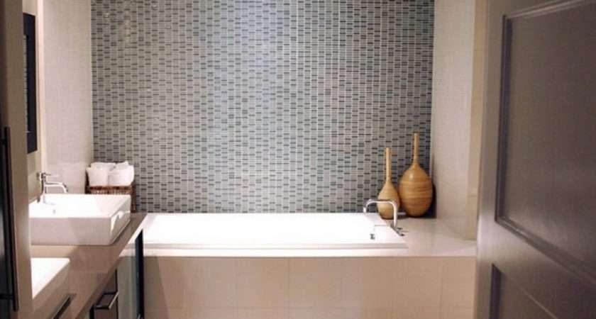 Light Gray Tile Backsplash Small Bathroom Wall