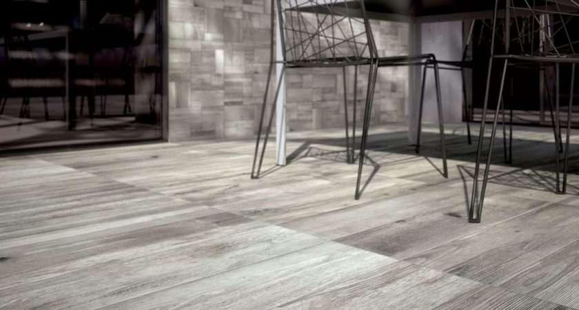 Light Grey Wooden Floor Wall Tiles Outdoor Space Closeup