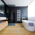 Light Wooden Bathroom Floor Colorful
