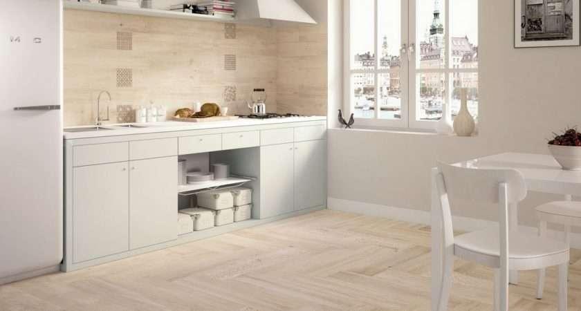 Light Wooden Tiled Kitchen Splashback Floor Wood Tiles White