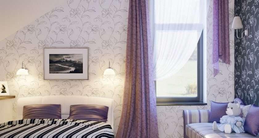 Lilac White Black Girls Room Interior Design Ideas