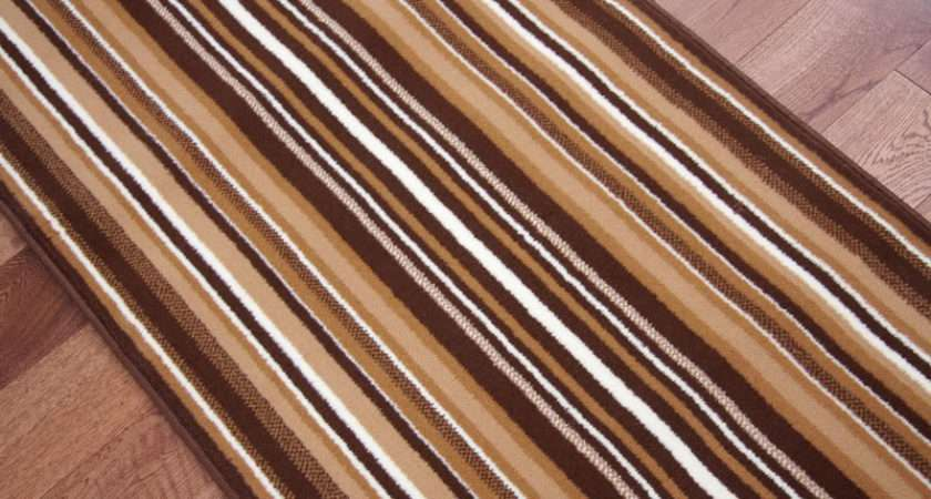 Lima Stair Carpet Runner Rug Dark Brown Beige Modern Striped Wide Long