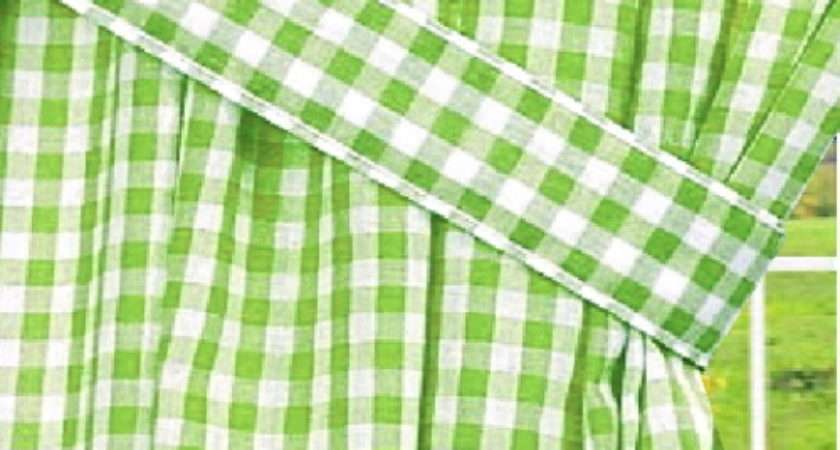 Lime Green Gingham Check Window Long Curtain Available