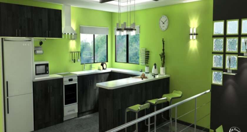 Lime Green Kitchen White Cabinets Saomc