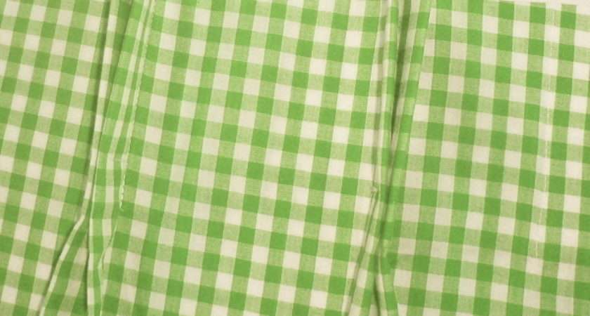 Lime Green White Gingham Check Pinch Pleat Kitchen
