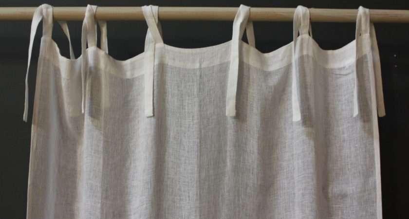Linen Voile Tie Top Curtain Pom Off Cape