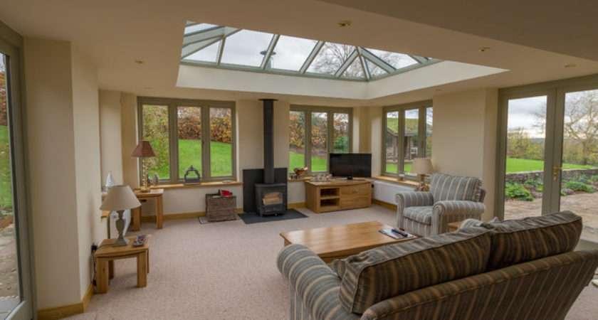 Linked Living Room Orangery Style Woodburner Modern