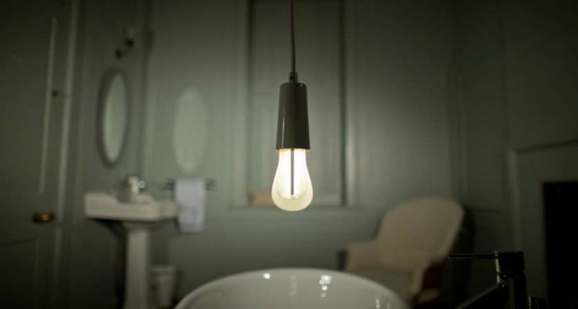 Lit Plumen White Drop Cap Lighting Pendant Shot Bathroom