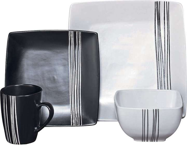Living Piece Scratch Stoneware Dinner Set Black White