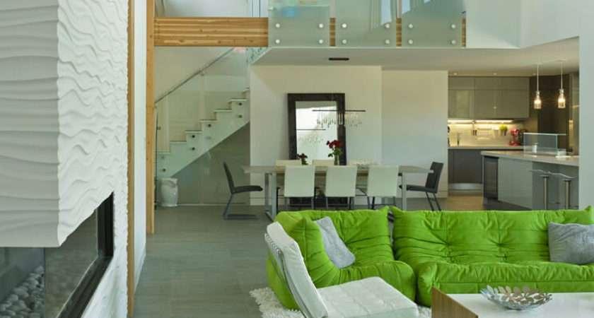 Living Room Green White Uplifting