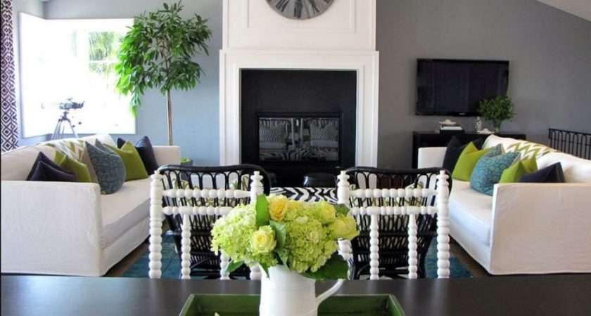 Living Room Grey Walls Green Accessories