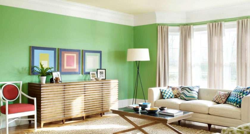 Living Room Interior Decor Against Green White Paint