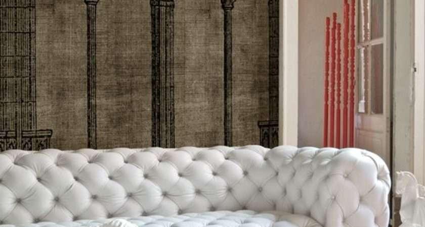 Living Room Interior Design Decor White Leather Tufted