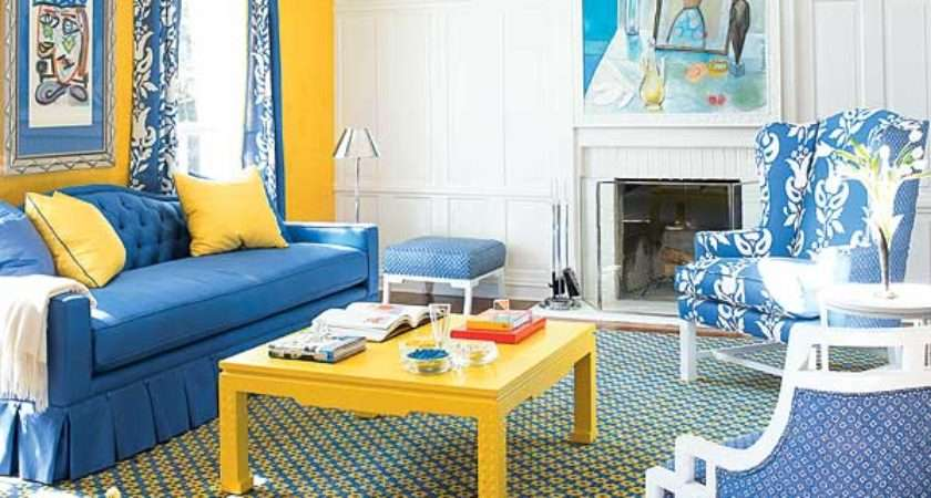 Living Rooms Blue Yellow Room Ideas Wall