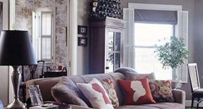 Living Rooms Gray Black Chocolate Red Traditional Room