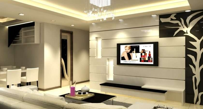 Living Rooms Wall Designs Room Lcd