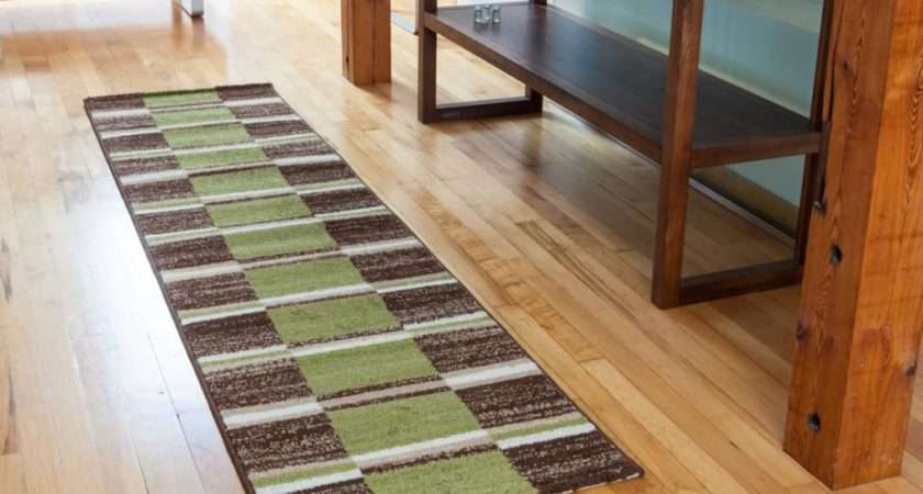 Long Cheap Green Brown Cream Checked Squares Patterned Hall Runner Rug