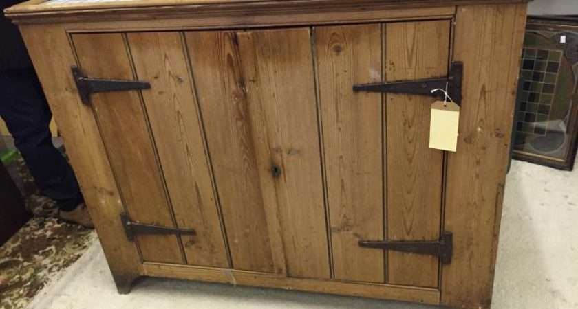 Lot Victorian Pine Standing Kitchen Unit Work Top Two