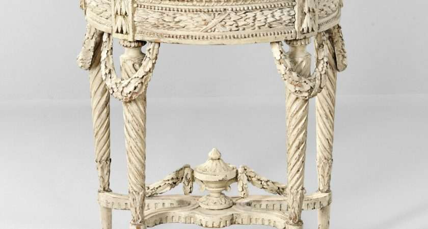 Louis Xvi Style White Painted Marble Top Console Table