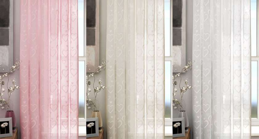 Love Heart Patterned Voile Curtains Panel Slot Top