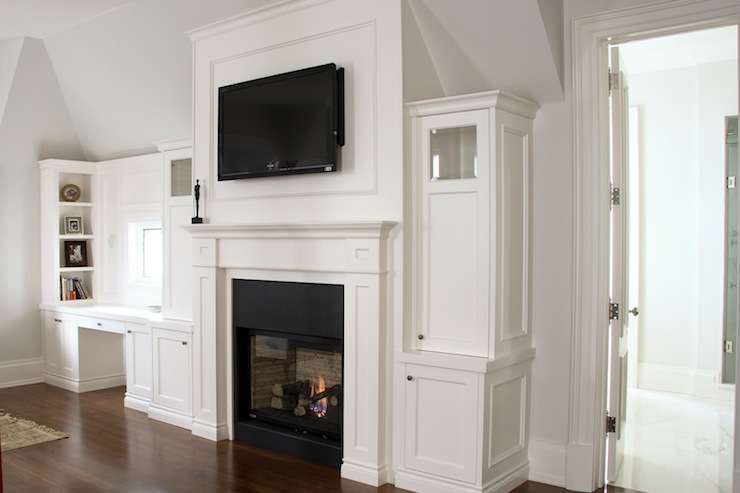 Lovely Bedroom Traditional Fireplace Flatscreen White