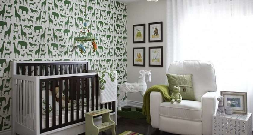 Lovely Nursery Room Green White Animal Prints Wall