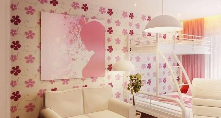 Lovely Pink White Shared Girls Bedroom Design